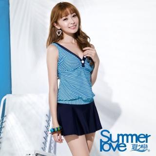 【夏之戀SUMMERLOVE】海軍風長版二件式泳衣(S16727)