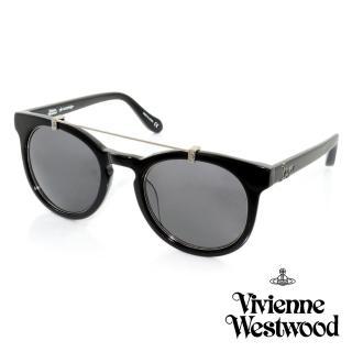 【Vivienne Westwood 英國 太陽眼鏡】時尚金屬造型太陽眼鏡(-黑-AN85401)