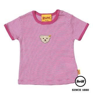 【STEIFF德國精品童裝】短袖 圓領 條紋 上衣 粉色(短袖T恤)