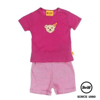 【STEIFF德國精品童裝】短袖 圓領 條紋 上衣 粉色(夏季套裝)