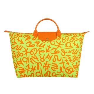 【LONGCHAMP】聯名系列Jeremy Scott旅行袋(螢光黃)