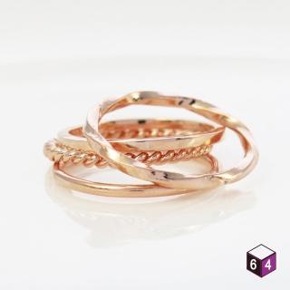 【ART64】純銀戒指 玫金 套組共4只 麻花 方扭 圓線 方線 戒指