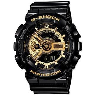 【CASIO 卡西歐 G-SHOCK 系列】黑金狂潮_經典不敗_雙顯運動男錶(GA-110GB)