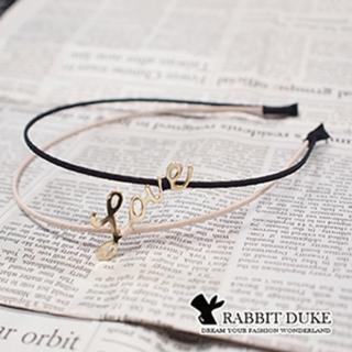 【Rabbit Duke】經典歐美風格 個性細緻雙色LOVE字型設計髮箍