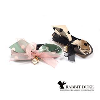 【Rabbit Duke】經典歐美風格 個性可愛點點撞色蝴蝶結馬尾夾