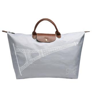 【LONGCHAMP】巴黎鐵塔紀念款摺疊購物包(大-淺灰色1624346-C54)