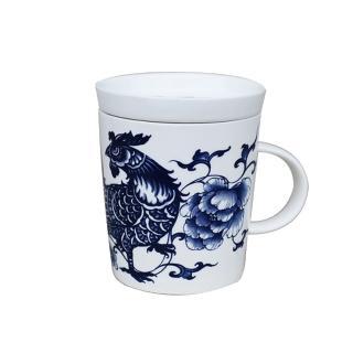 【青花皇后楊莉莉】生肖杯-雞(富貴大吉)