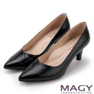 【MAGY】簡約OL通勤款 大女人素雅羊皮尖頭高跟鞋(黑色)