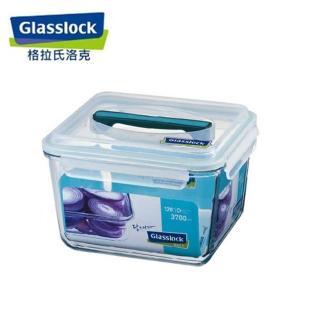 【Glasslock】手提長方強化戶外野餐大容量玻璃保鮮盒(3700ml)