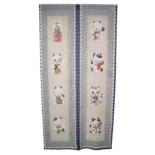 日式福貓針織長門簾YSJ853(藍86x170cm)