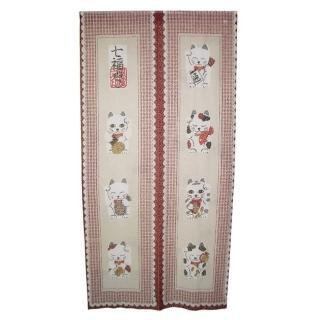 日式福貓針織長門簾YSJ853(紅86x170cm)