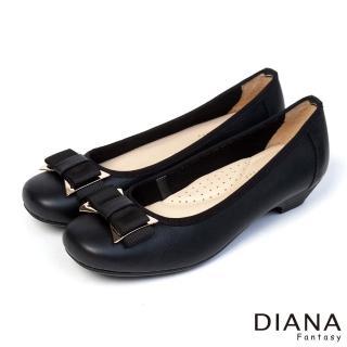 DIANA 優雅姿態--異材質蝴蝶結真皮低跟鞋-黑