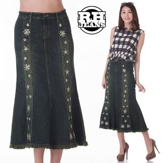 【雪莉亞】牛仔裙(繡珠花人魚型修身牛仔裙)