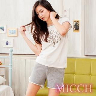 【MICCH】茁壯的心 寬鬆休閒風 心樹短袖褲套組
