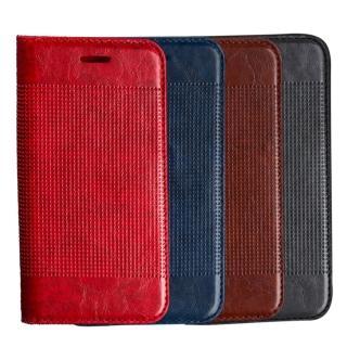 【Samsung】Galaxy S7 輕薄皮革壓紋真皮質感手機皮套(紅藍棕灰多色可選)