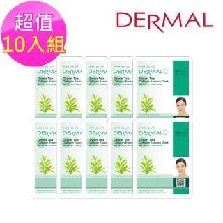 【DERMAL】綠茶調理萃取菁華面膜10入組(人氣面膜)  DERMAL