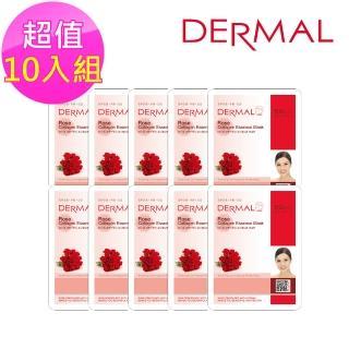 【DERMAL】玫瑰膠原蛋白面膜10入組(人氣面膜)  DERMAL