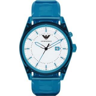 【Emporio Armani】Summer 時尚腕錶-白x藍/44mm(AR1072)