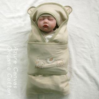 【Azure Canvas藍天畫布】100%有機棉 柔適系列 嬰兒肚圍包巾-彩綠(包巾)