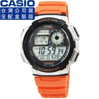 【CASIO】卡西歐多時區鬧鈴電子膠帶錶-橘(AE-1000W-4B)