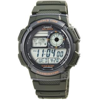 【CASIO】卡西歐多時區鬧鈴電子膠帶錶-軍綠(AE-1000W-3A)
