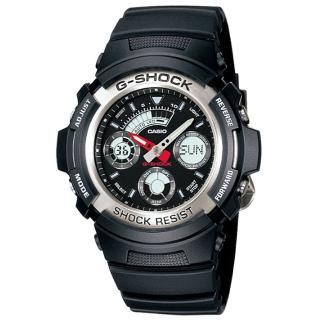 【CASIO】卡西歐G-SHOCK 雙顯鬧鈴電子錶-黑(AW-590-1A)