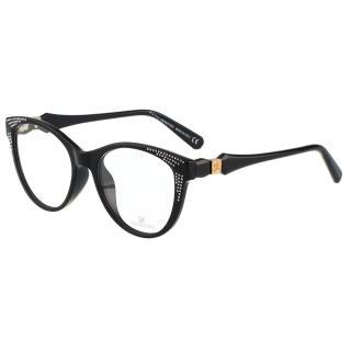 【SWAROVSKI】-貓眼水鑽 光學眼鏡SW4075(黑色)