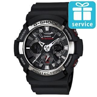 【CASIO】G-SHOCK 仿輪胎X型紋路潮流造型雙顯錶(GA-200-1A)