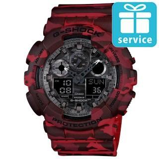 【CASIO】G-SHOCK 街頭時尚迷彩圖樣雙顯錶(GA-100CM-4A)