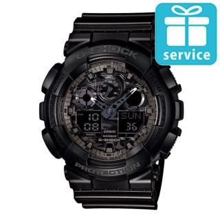 【CASIO】G-SHOCK 超人氣金屬光澤迷彩紋路雙顯錶(GA-100CF-1A)