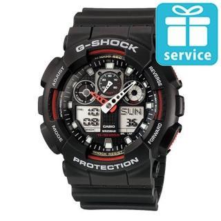 【CASIO】G-SHOCK 3D立體重型機械防滑紋路雙顯錶(GA-100-1A4)