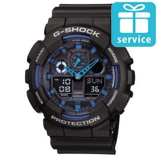 【CASIO】G-SHOCK 3D立體重型機械防滑紋路雙顯錶(GA-100-1A2)