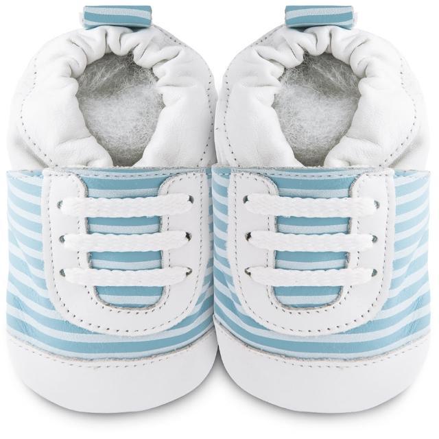 【英國 shooshoos】安全無毒真皮手工鞋-學步鞋_藍白斑馬紋運動型_101068(適合爬行、搖晃學習走路寶寶)