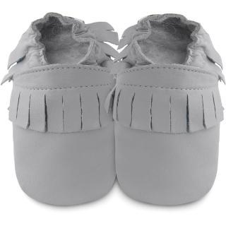 【英國 shooshoos】安全無毒真皮手工鞋/學步鞋_灰色流蘇_102251(適合爬行、搖晃學習走路寶寶)