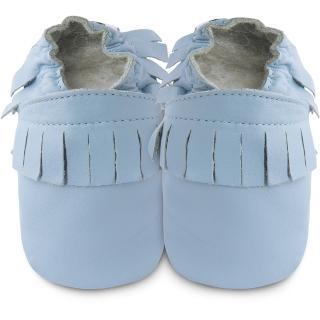 【英國 shooshoos】安全無毒真皮手工鞋/學步鞋_藍色流蘇_102223(適合爬行、搖晃學習走路寶寶)