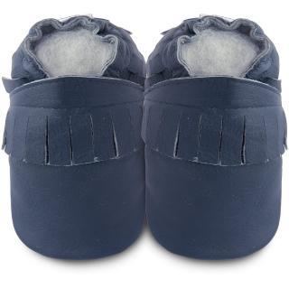 【英國 shooshoos】安全無毒真皮手工鞋/學步鞋_寶藍流蘇_102226(適合爬行、搖晃學習走路寶寶)