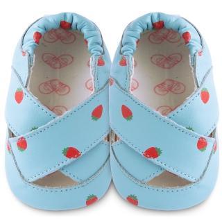 【英國 shooshoos】安全無毒真皮手工鞋/學步鞋_草莓之吻涼鞋_101006(適合爬行、搖晃學習走路寶寶)