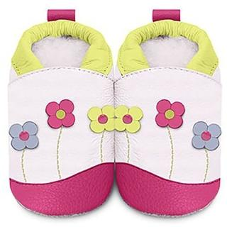 【英國 shooshoos】安全無毒真皮手工鞋/學步鞋_粉綠花園_GWH85(適合爬行、搖晃學習走路寶寶)