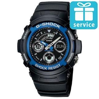 【CASIO】G-SHOCK 運動賽車三眼指針錶(AW-591-2A)