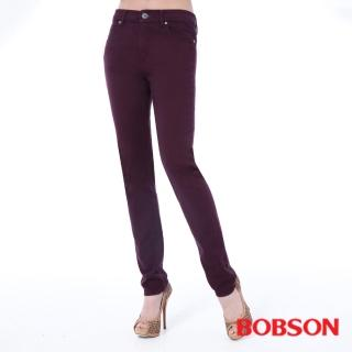 【BOBSON】女款高腰膠原蛋白拉毛小直筒褲(紫8140-61)