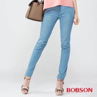 【BOBSON】女款高腰膠原蛋白美肌褲(藍8081-58)