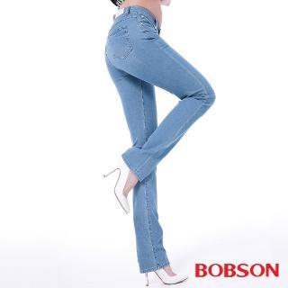 【BOBSON】女款膠原蛋白直筒美肌褲(藍8084-58)