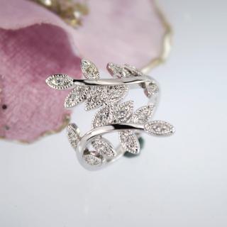 【xmono】銀色樹葉紋身晶鑽戒指   xmono