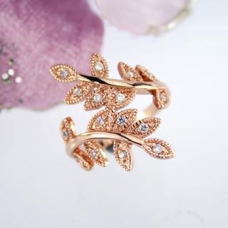 【xmono】玫瑰金色樹葉紋身晶鑽戒指   xmono
