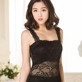 【Osun】蕾絲小可愛背心 夏季百搭蕾絲雙肩(長款2入 黑/白 CE176-3058)
