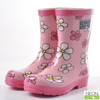 【Neon Walk】兒童粉紅花朵(Neonwalk 尼沃 兒童雨靴 兒童雨鞋 中筒雨靴)