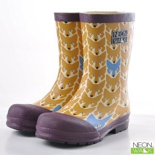 【Neon Walk】兒童調皮黃狐狸(Neonwalk 尼沃 兒童雨靴 兒童雨鞋 中筒雨靴)