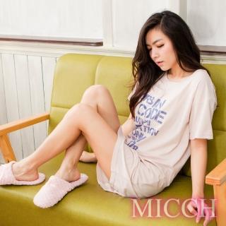 【MICCH】都會休閒 時尚放鬆字母印花 短袖連身洋裝裙*卡其膚