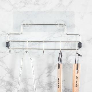 【樂活主義】新魔力霧面無痕貼系列-不鏽鋼工具五勾架