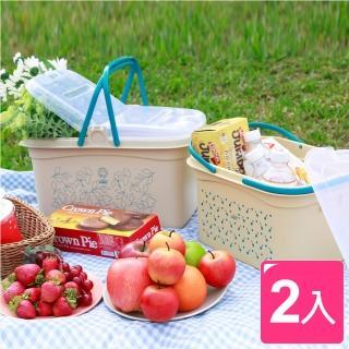 【真心良品】野餐趣手提式大+小收納籃(2入)
